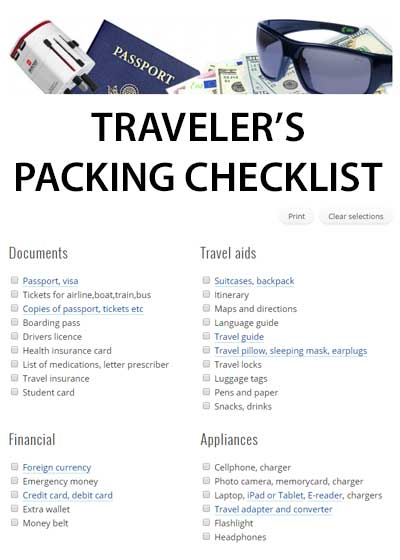 Go to TRAVELER'S CHECKLIST