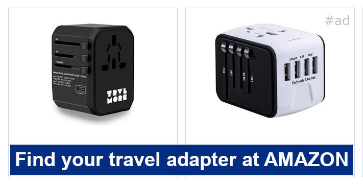 Find your travel adapter at AMAZON